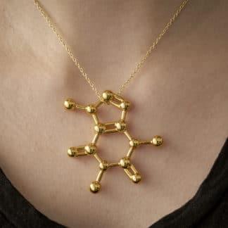 Caffeine molecule necklace gold square