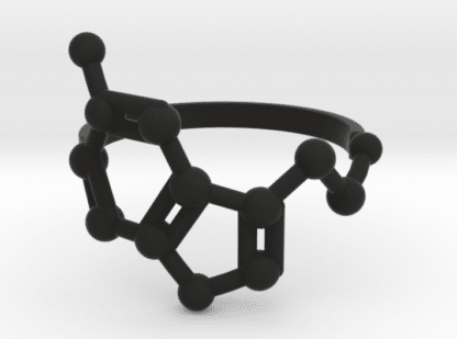 Serotonin molecule ring black nylon plastic