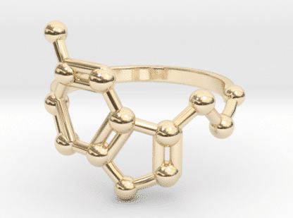 Serotonin molecule ring 14k Gold