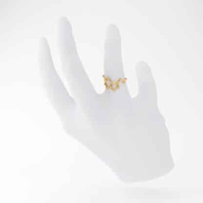 Serotonin 3D Ring Gold Hand