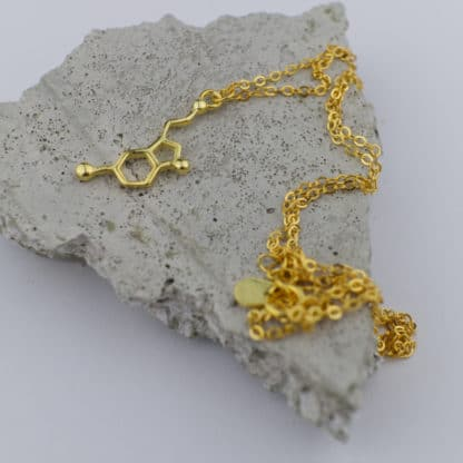 Serotonin Molecule Necklace Small Concrete Gold