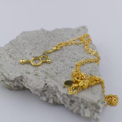 Serotonin Molecule Necklace Small Concrete Gold Detail