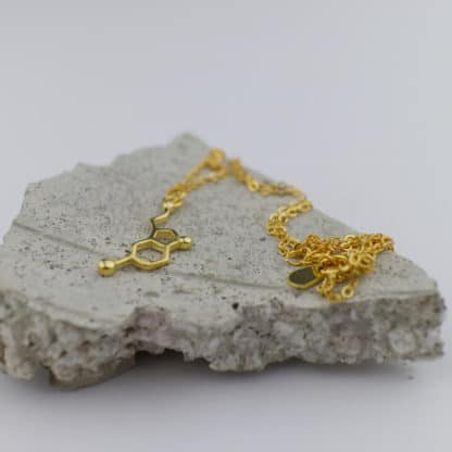 Serotonin Molecule Necklace Small Concrete Gold Wow