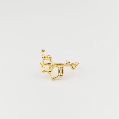 Serotonin Molecule Ring 3D 18K Gold Front