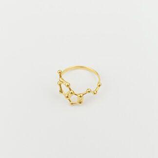 Serotonin Molecule Ring 3D 18K Gold Top