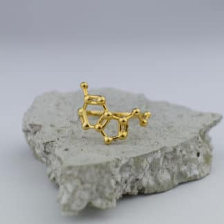 Serotonin Molecule Ring 3D Gold