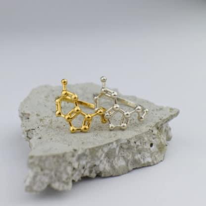 Serotonin Molecule Ring 3D Gold Silver