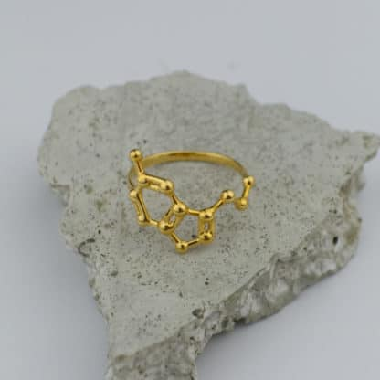 Serotonin Molecule Ring 3D Gold Top