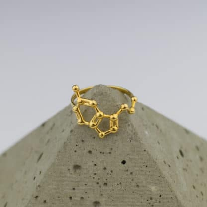 Serotonin Molecule Ring 3D Pyramid Gold