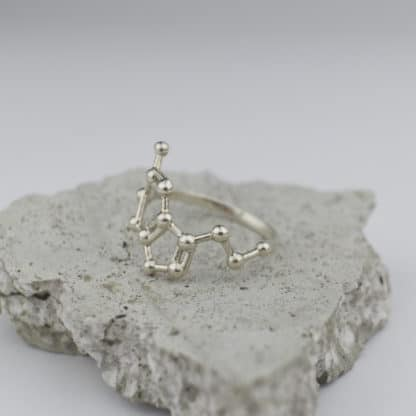 Serotonin Molecule Ring 3D Silver SideSerotonin Molecule Ring 3D Silver Side