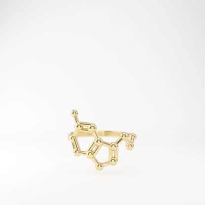 Serotonin Ring 3D Gold Front