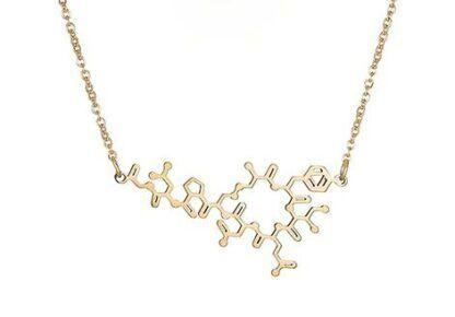 Oxytocin molecule necklace flat gold