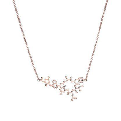 Oxytocin molecule necklace flat rose gold