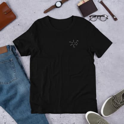 Caffeine Molecule T-Shirt Embroidered Black