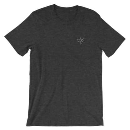 Caffeine molecule t-shirt embroidered dark grey heather