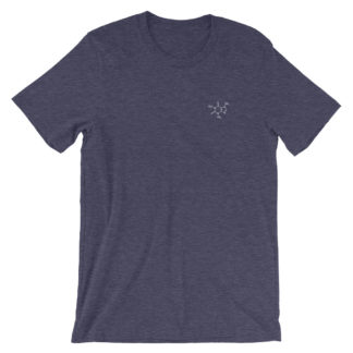 Caffeine molecule t-shirt embroidered heather midnight navy