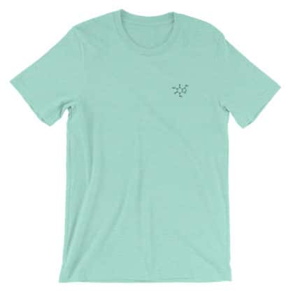 Caffeine molecule t-shirt embroidered heather mint