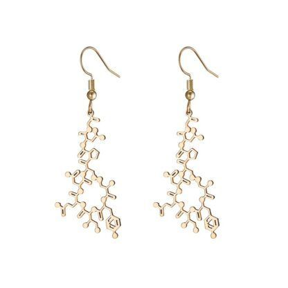 Oxytocin molecule earrings gold