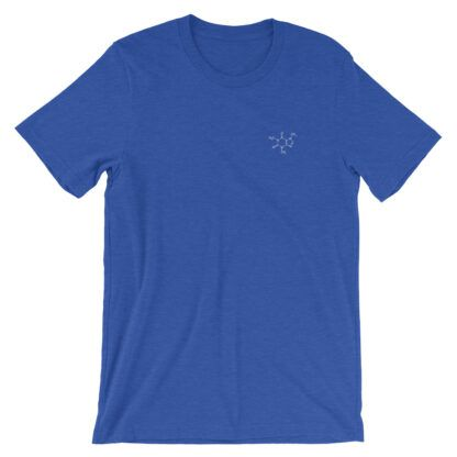 Caffeine molecule t-shirt embroidered blue
