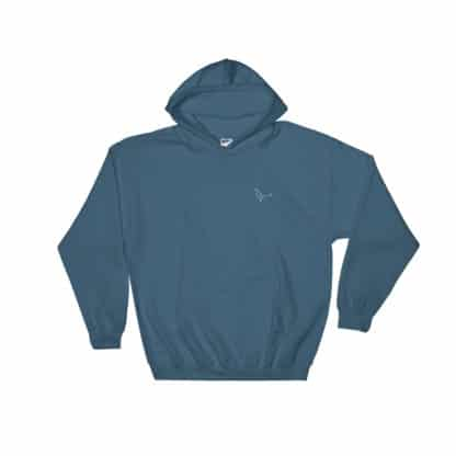 Serotonin molecule hoodie embroidered indigo