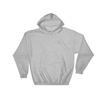 Serotonin molecule hooded sweatshirt embroidered grey