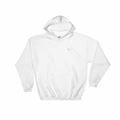 Serotonin molecule hooded sweatshirt embroidered white