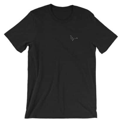 Serotonin molecule embroidered t-shirt black heather