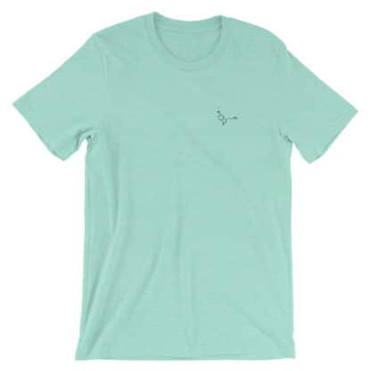 Serotonin molecule t-shirt embroidered heather mint