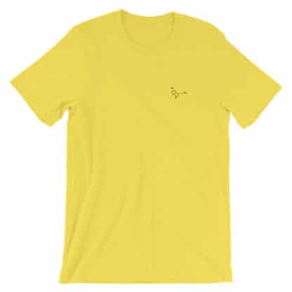 Serotonin molecule t-shirt embroidered yellow