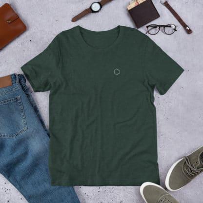 Benzene molecule t-shirt embroidered green heather