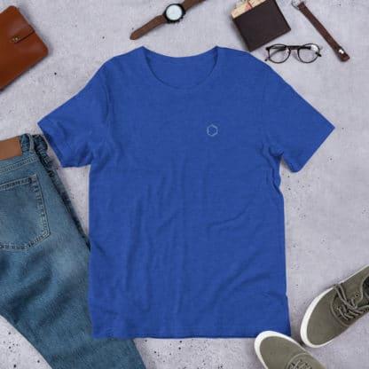 Benzene molecule t-shirt embroidered blue heather