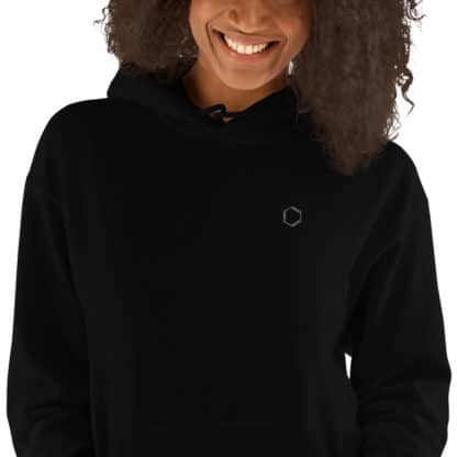 Benzene molecule hoodie embroidered black