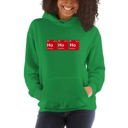 Ho Ho Ho hoodie green