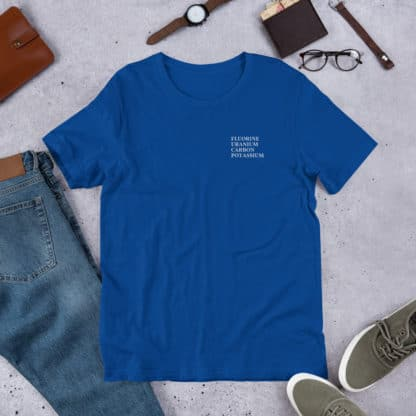 FUCK periodic table elements t-shirt blue