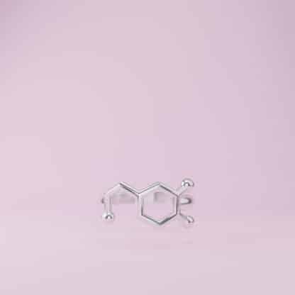 Dopamine Molecule Ring Sterling Silver Pink