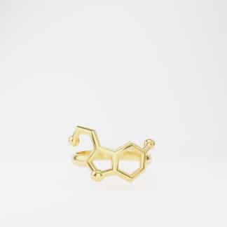 Serotonin Molecule Ring Gold Front