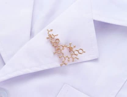 Oxytocin Molecule Brooch Pin Lab Coat