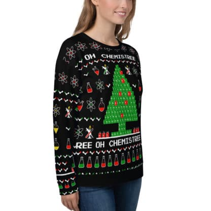 Chemistry ugly christmas sweater girl side