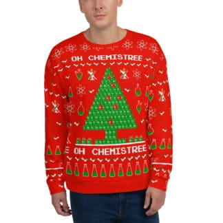 ugly christmas sweater chemistree red