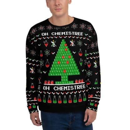 Chemistree ugly christmas sweater black front