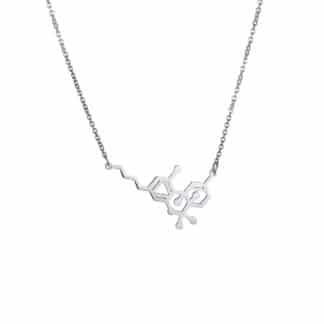 THC Molecule Necklace Flat Silver