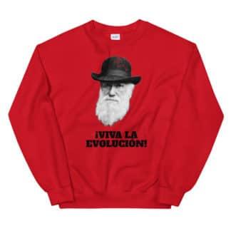 Viva la Evolution Evolucion sweater Darwin red