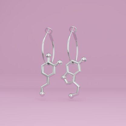 Dopamine + Serotonin molecule earrings silver 1 crop