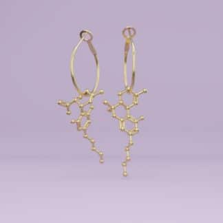 THC + CBD molecule earrings gold 2